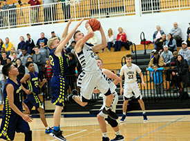 Lisle High School Basketball Player Shooting a basket