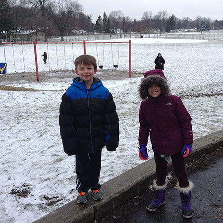 Schiesher students bundle up for cold weather.