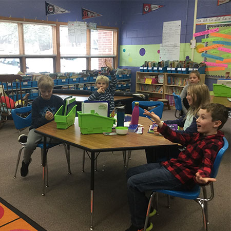 Schiesher students learning new math concepts