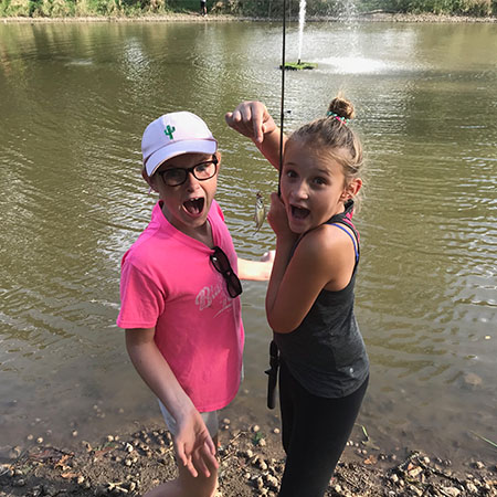 Schiesher students fishing at outdoor education