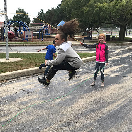 Schiesher students jumping rope at recess