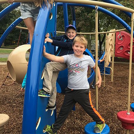 Schiesher students play on the playground at recess