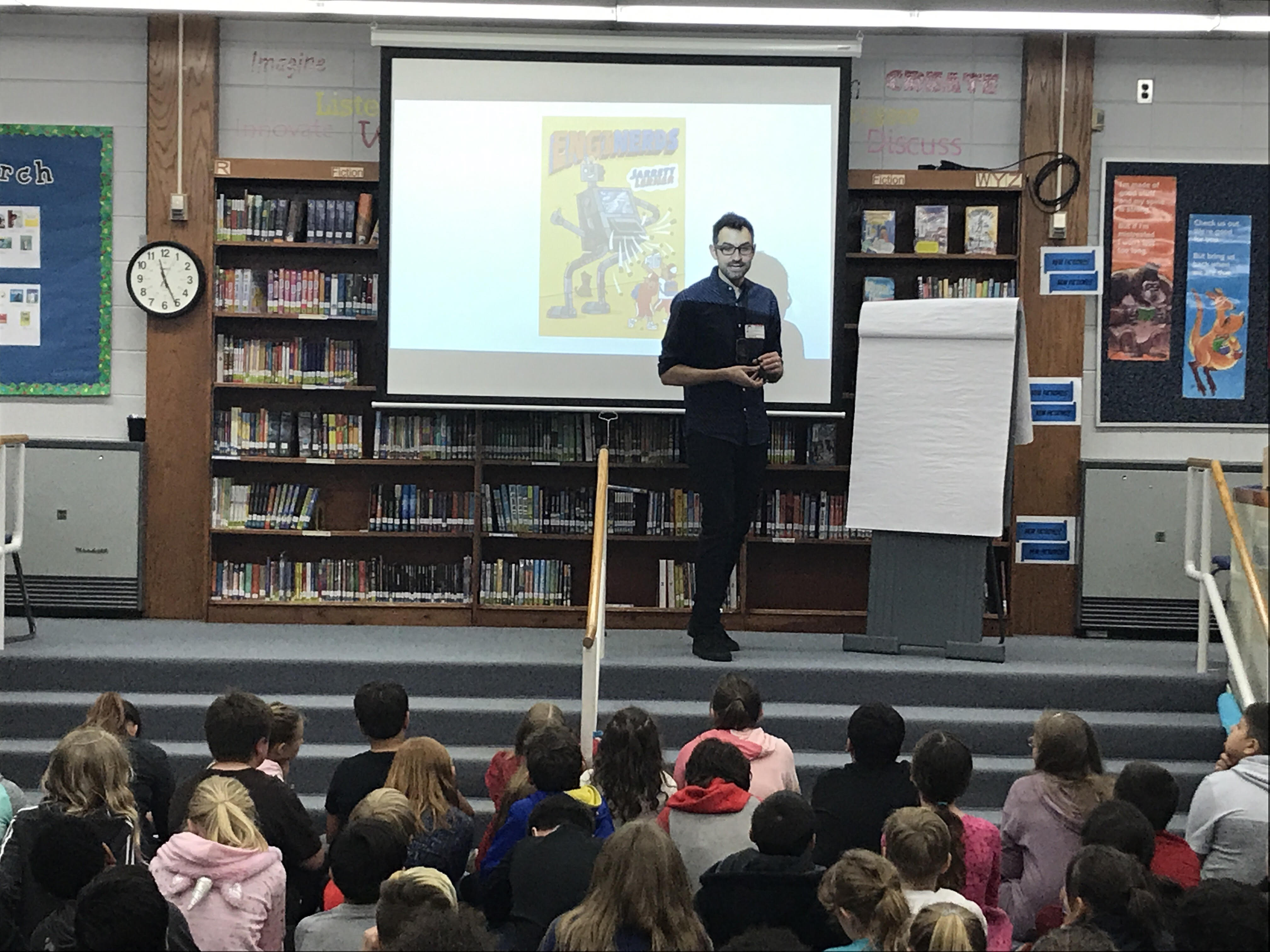 Author Jarrett Lerner talks to students about the writing process.