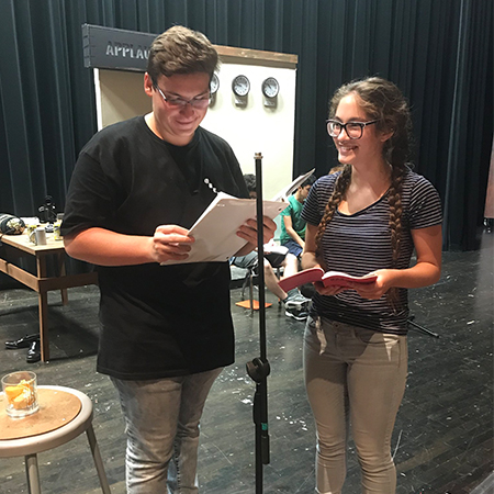 Two students rehearse reading lines for the Lisle High School fall play