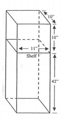 "Locker diagram - Bottom portion is 42""H x 11""W x 10""D and the top portion is 10""H x 11""W x 10""D"